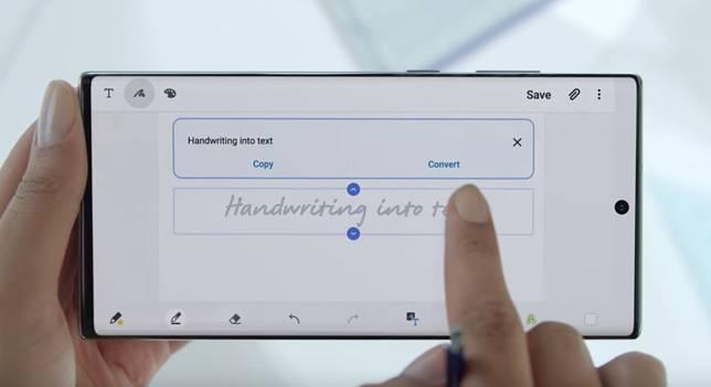 用家可用S Pen書寫文字,然後轉化成數碼文字。(網上圖片)