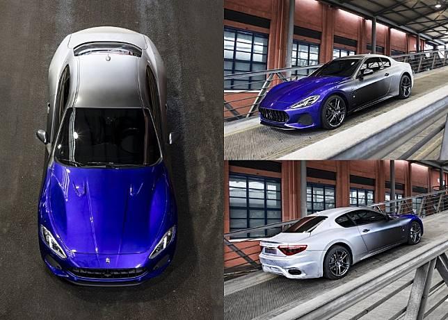 車身顏色由白、灰、逐漸呈現出瑪莎拉蒂標誌性的深藍色,承載着瑪莎拉蒂的過去、現在和未來,意義非凡。(互聯網)