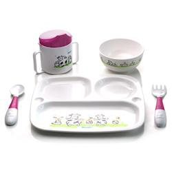 ◎不含雙酚A|◎五件式餐具組,可讓幼兒學習獨立進食|◎內容物/材質:碗PP(耐熱度-20度~120度)、杯子PP(耐熱度-20度~120度)、餐盤PP(耐熱度-20度~120度)、匙叉PP+TPR(耐