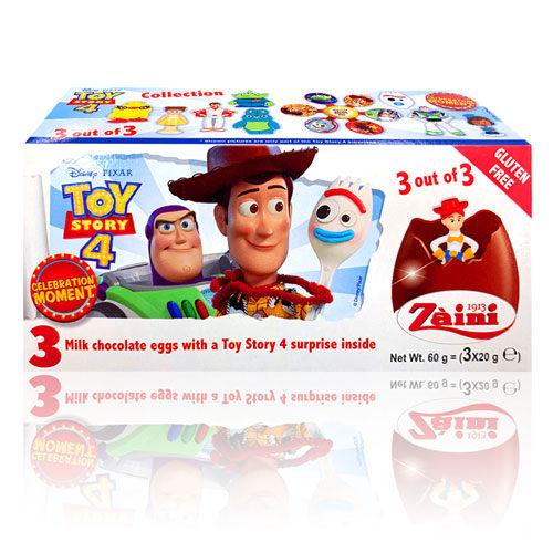 熱門動畫電影玩具總動員4角色玩具就在香濃的阿尼驚喜蛋裡! n跟著胡迪、叉奇,一起踏上有趣的旅程吧