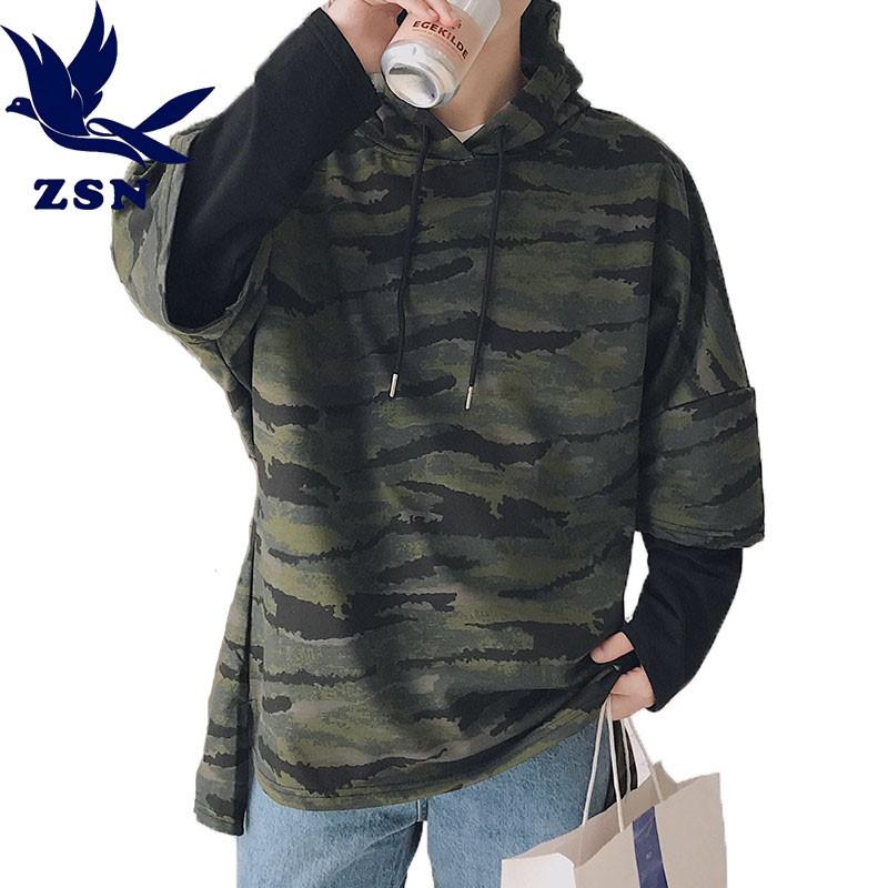 歐美風大尺碼M-5XL迷彩假兩件拼接帽tee 長袖戶外訓練潮牌迷彩衛衣 時尚帥氣流行復古衛衣 學院風青年寬鬆上衣