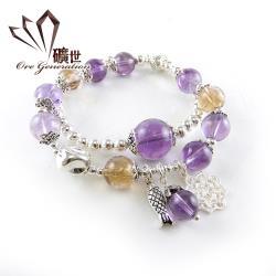 【礦世】紫黃水晶銀飾手鍊E714