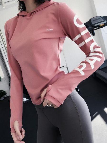 秋冬健身房運動上衣女寬鬆速干健身服顯瘦跑步衛衣網紅長袖瑜伽服
