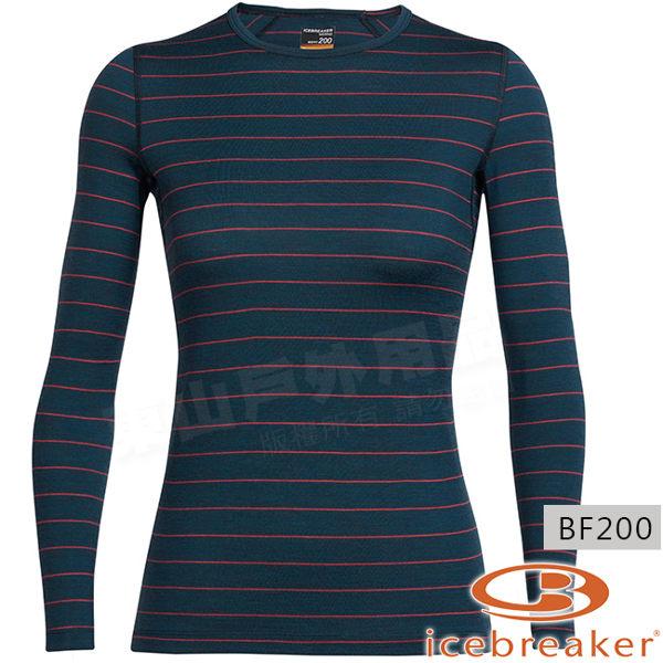 Icebreaker 100514-410墨綠/莓紅 女羊毛圓領保暖衣Oasis 美麗諾控溫長袖休閒上衣/排汗快乾機能服