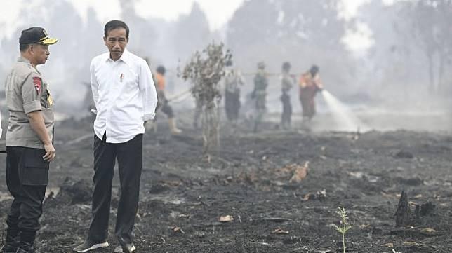 Presiden Joko Widodo (kanan) didampingi Kapolri Jenderal Pol Tito Karnavian meninjau penanganan kebakaran lahan di Desa Merbau, Kecamatan Bunut, Pelalawan, Riau, Selasa (17/9). [ANTARA FOTO/Puspa Perwitasari]