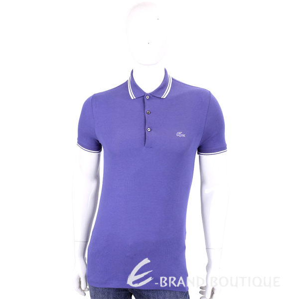 LACOSTE Slim Fit 紫色撞色領口短袖POLO衫(男款) 1630056-E9