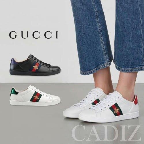 義大利正品 GUCCI Baskets brodes Ace 休閒黑白皮革蜜蜂刺繡板鞋 431942