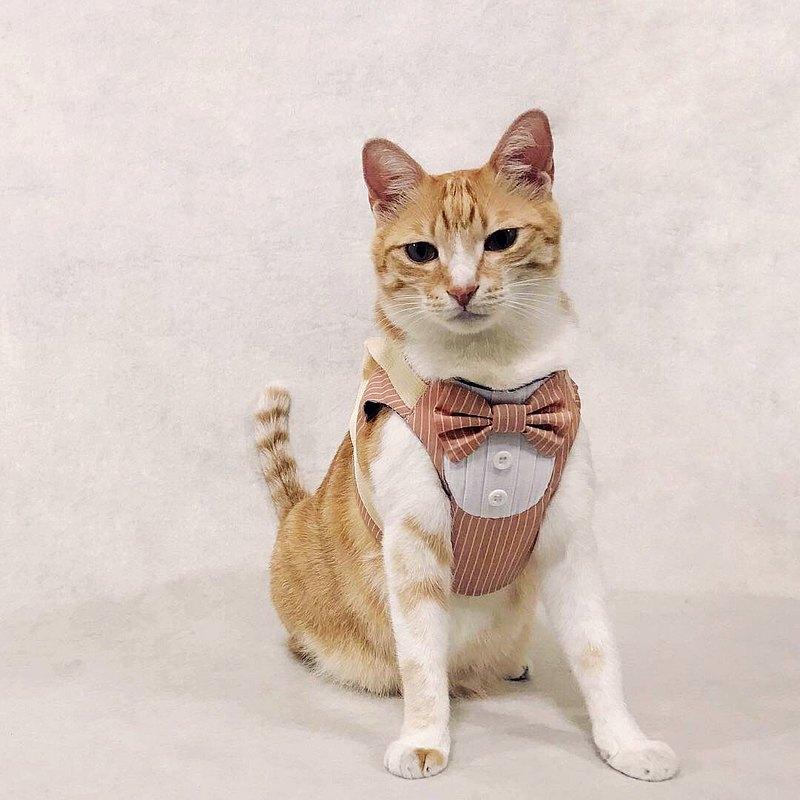執事造型胸背帶,貓貓專用版型設計,外出安全,一起帥一波!