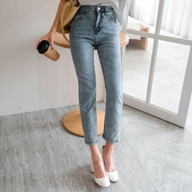 ★現折100★水洗感淡藍高腰直筒牛仔褲(共1色,S-XL)0216 預購【NJ0583】