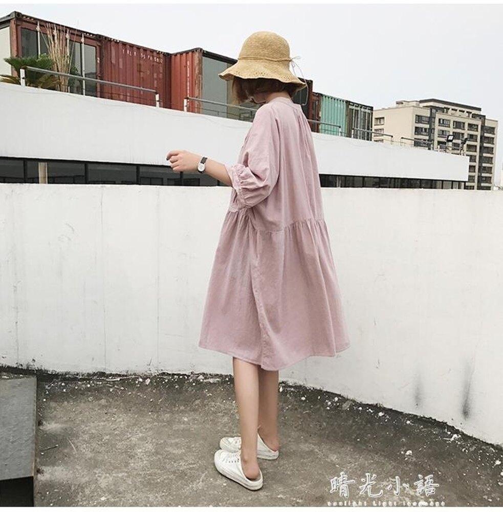 2019新款學院風小清新學生韓版森女系娃娃裙棉麻少女洋裝女 晴光小語