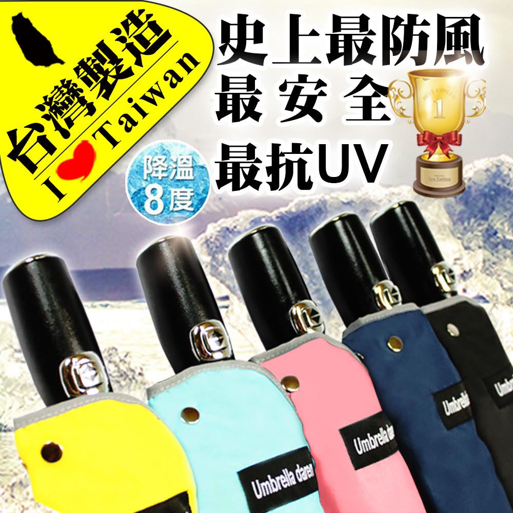 【產品介紹】 (台灣製造)達人獨立研發,NO.1防風 NO.1防曬。 採用和奧迪、LV相同質感的高規格皮革握把。 3M夜間安全反光護條,保護全家人安全。 傘內上四層黑膠防曬抗UV100%。 完全不透光