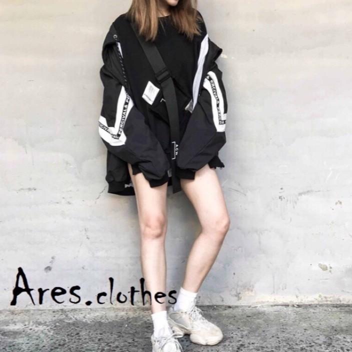 Ares.衣著 街頭黑色寬鬆運動外套 黑/大尺碼 韓國製 現貨實穿 現貨實拍