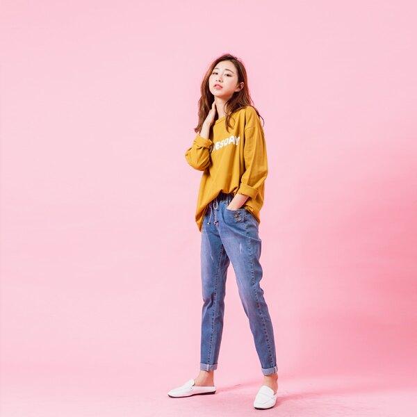 復古雙扣反折褲管牛仔男友褲-eFashion 預【L12102351】