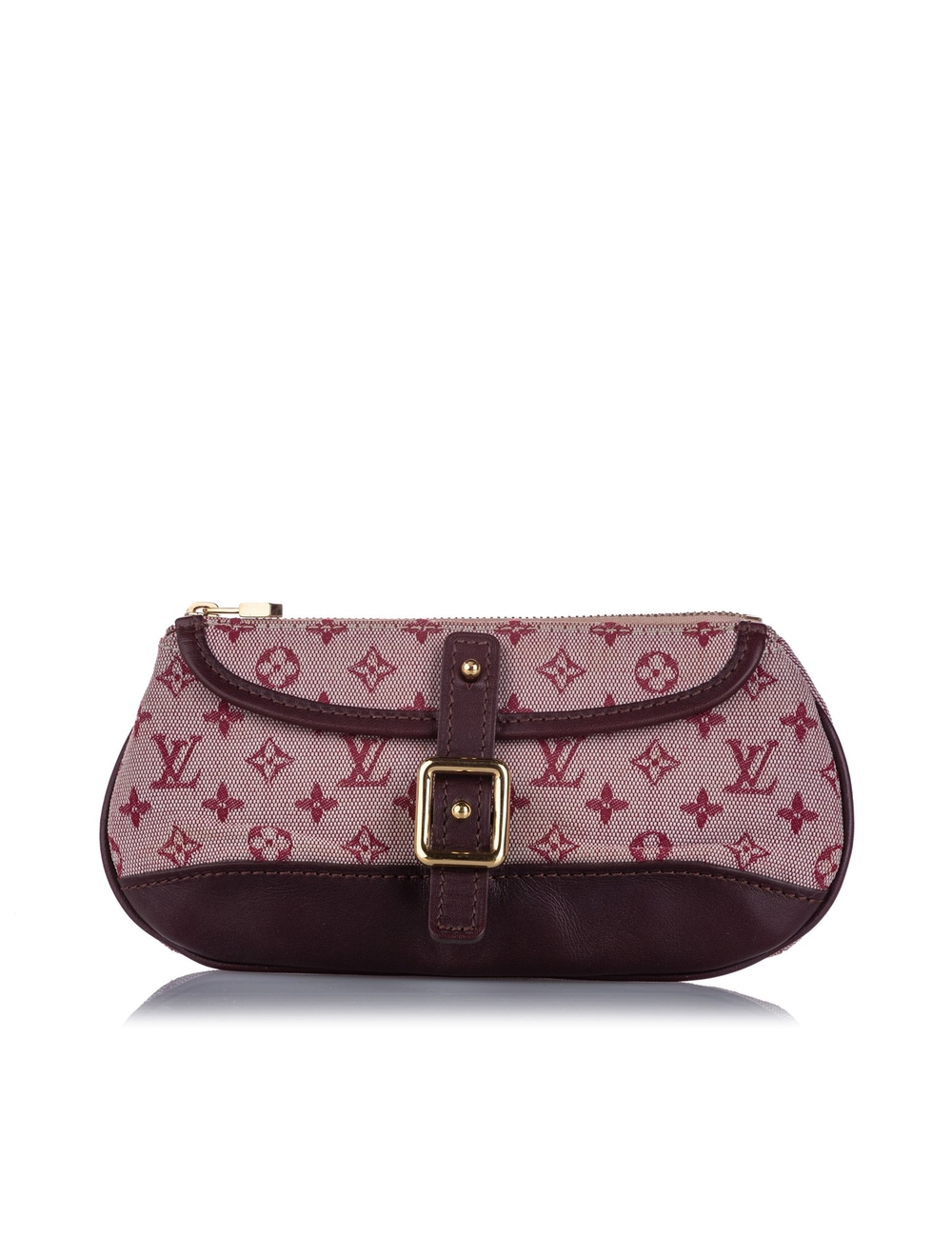 The Anne Sophie Pouch features a canvas body, a front buckle detail, and a top zip closure. Serial: