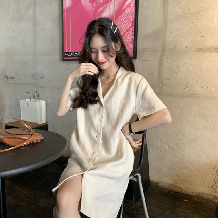 [現貨] 氣質純色單排釦短袖洋裝 韓系V領翻領連身裙 短洋裝 簡約寬鬆休閒A字裙 襯衫裙