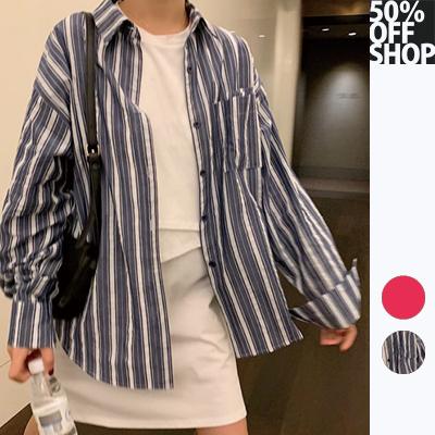 50%off shop韓版條紋寬鬆薄款防曬長袖襯衫【003829baae】