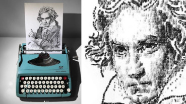 用打字機啪啪啪畫出超擬真人像