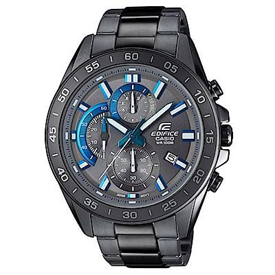 原廠公司貨以三眼設計搭配俐落指針,呈現賽車儀表板概念 錶殼及錶帶皆以灰色IP離子處理完成,整體以同色系設計 型號:EFV-550GY-8AVUDF