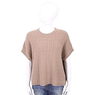 ALLUDE 100%喀什米爾可可棕粗麻花針織衫