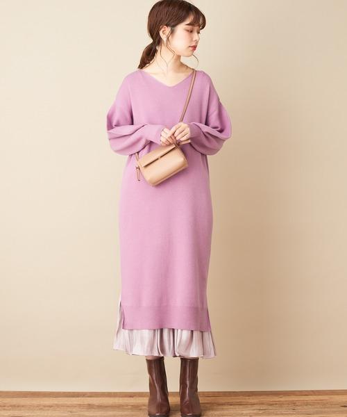 薰衣草色針織連身裙