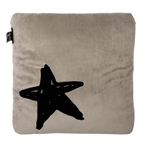 agnes b.- -b logo星星圖案方型抱枕(米灰)