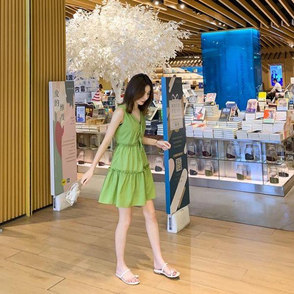 吊帶裙吊帶連身裙2019新款夏牛油果綠裙子女仙女超仙森系女裝雪紡小清新 伊羅鞋包