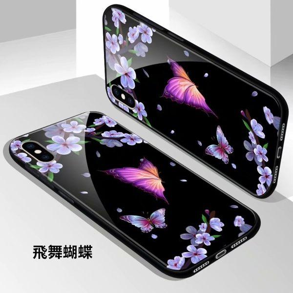 iPhone XR 手機殼 鋼化玻璃全包防摔保護套 玻璃殼 送同款螢幕保護貼 軟邊保護殼 卡通殼 蘋果XR