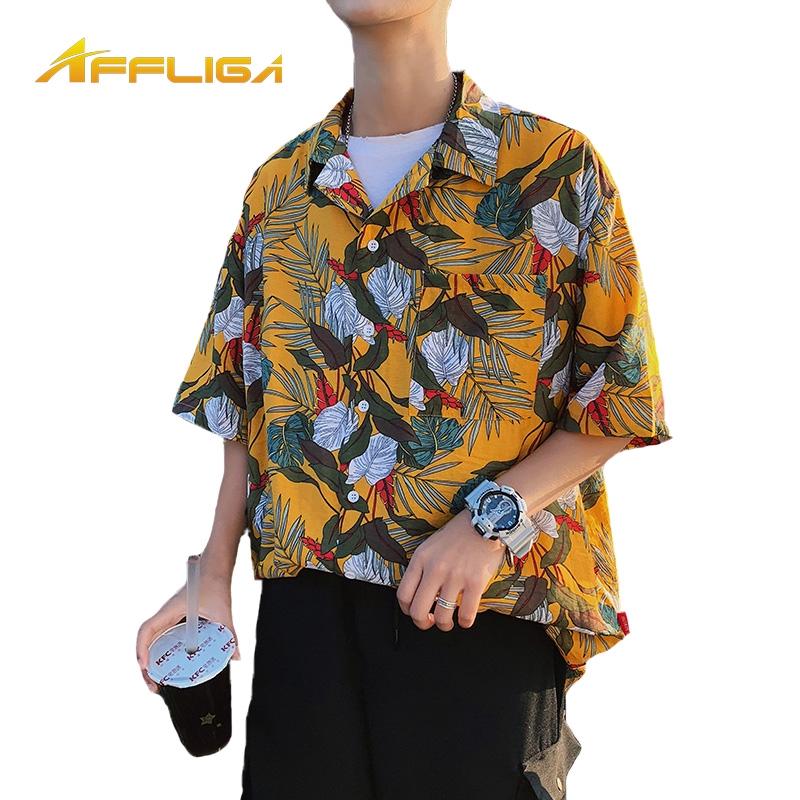 2019夏季新款夏威夷襯衫 短袖襯衫 翻領襯衫 日系滿版印花襯衫 潮流時尚男生花卉襯衫 休閒襯衫 沙灘短袖襯衣 短袖上衣