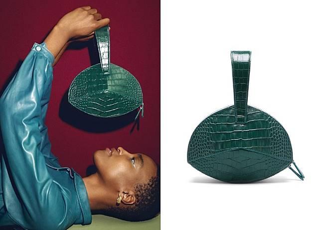 Dark Green Croc Leather Bonita Bag(互聯網)