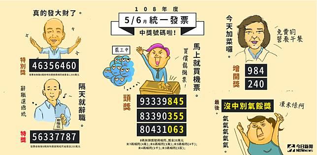 ▲ 108 年 5-6 月期統一發票今( 25 )日開獎。(圖/ NOWnews 製圖)