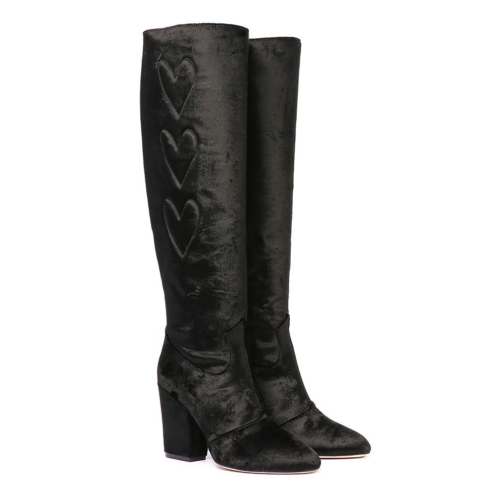 Chiara Ferragni 愛心絨布長靴-黑