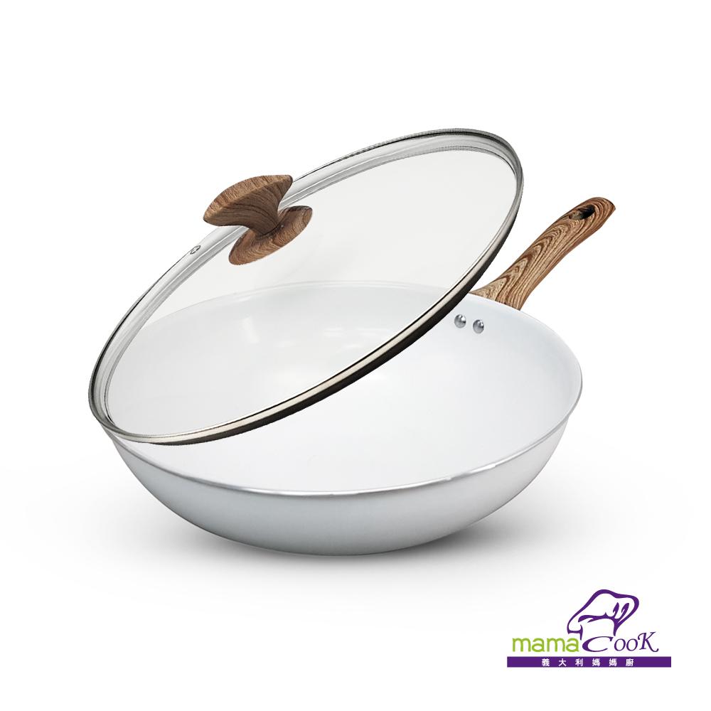 ◆義大利Mama Cook創意鍋款◆鍋身、鍋面簡約純白設計◆淨白陶瓷不沾層少油不沾好清洗◆北歐風格純白搭配經典橡木紋◆精緻透明可視鍋蓋,烹煮方便