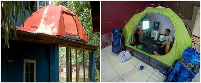 Kangen mendaki, 12 potret tenda dalam rumah ini kocak banget