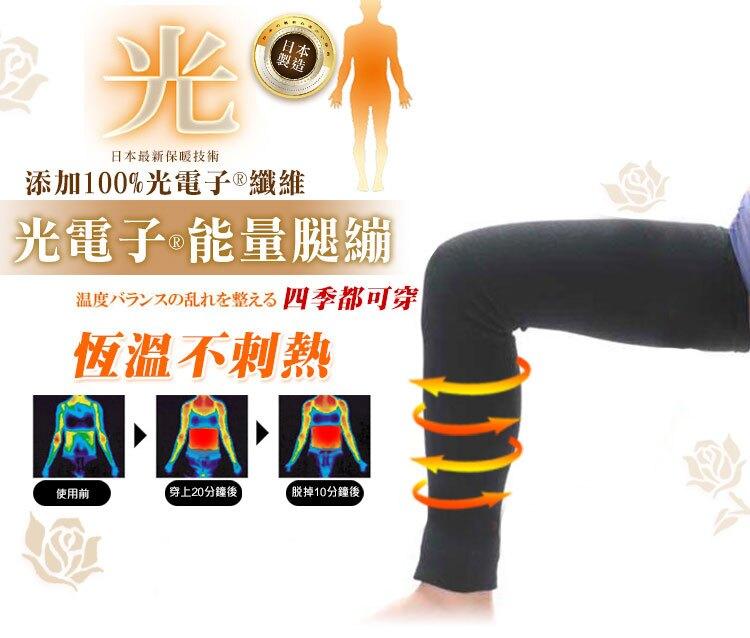 日本新科技光電子瘦腿繃 (腿套)*光電子能量腿繃 晚安瘦腿 燃燒系光電子纖維100% 美腿塑形 雕塑雙腿 機能束套 日本塑身衣 消除腿部水踵 時尚塑身 產後瘦身 日本製