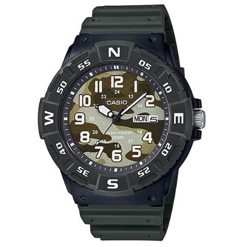 【CASIO】酷炫迷彩潛水運動風腕錶-墨綠 (MRW-220HCM-3B)