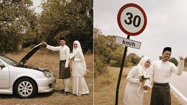 pengantin foto di tengah jalan