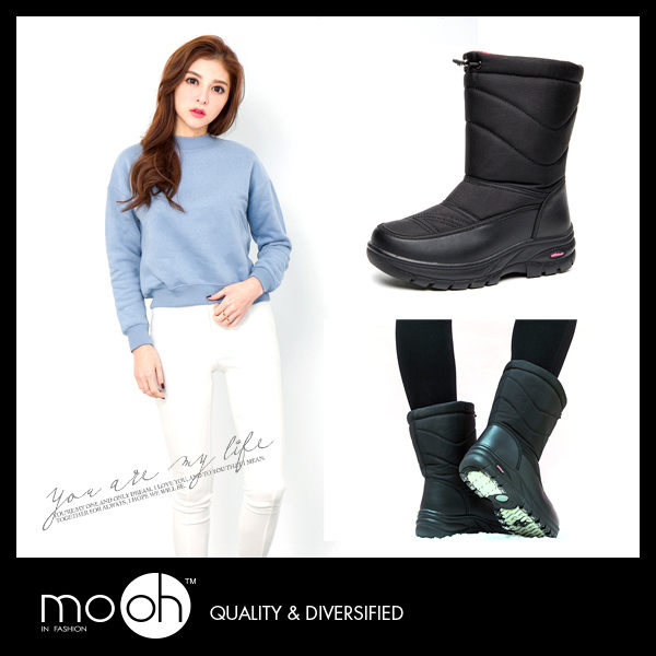 防水雪靴 保暖輕量羽絨雪地中筒靴 mo.oh (歐美鞋款)