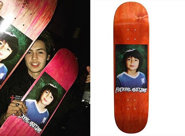 美國街牌Fu*king Awesome亦曾經用上Sean Pablo童年肖像製成滑板圖案。(互聯網)