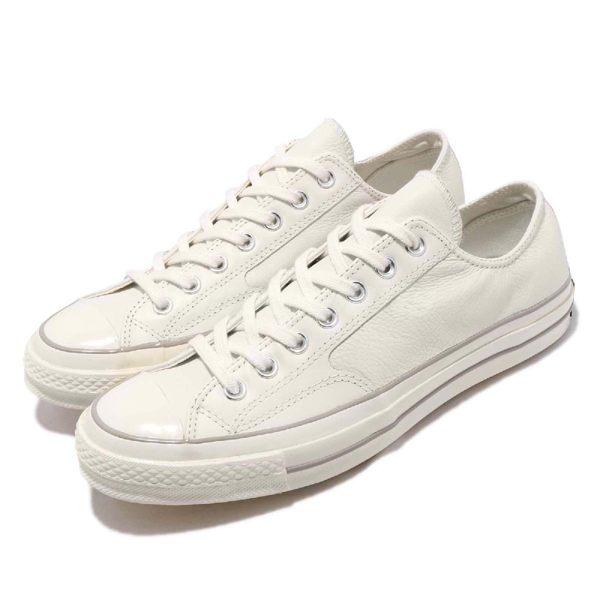 Converse 帆布鞋 Chuck Taylor All Star 70 米白 皮革 復古奶油底 低筒 基本款 男鞋 女鞋【PUMP306】 163329C