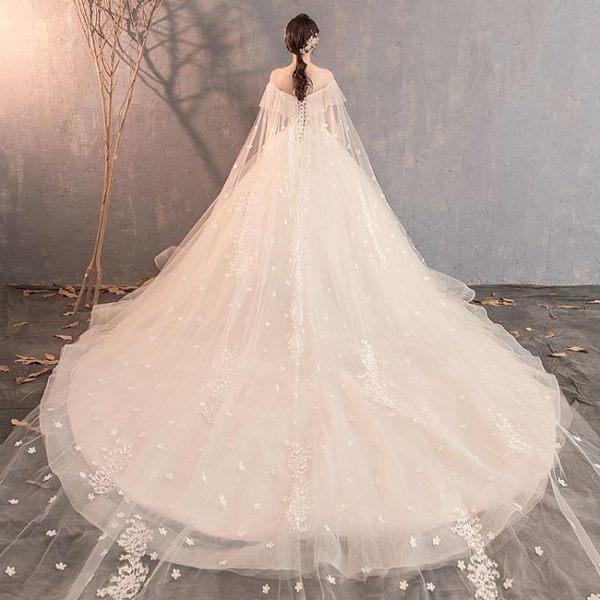 婚紗禮服 法式森系輕新娘公主夢幻小拖尾小個子旅拍超仙女-巴黎時尚