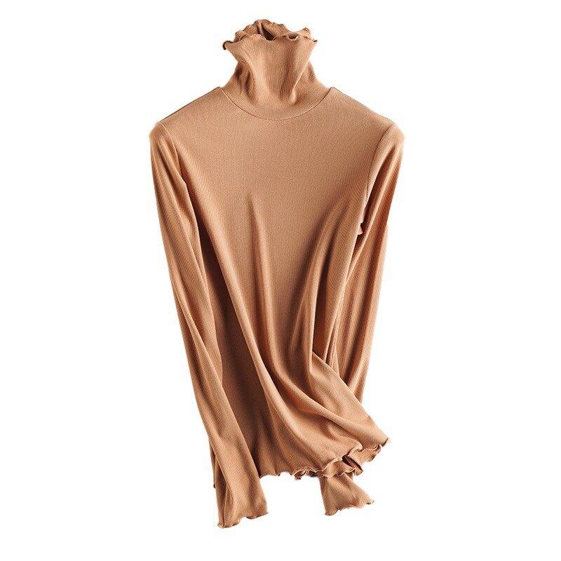 【預購】Lady Lace 蠶絲高領保暖衣 發熱衣 內搭衣 木耳邊高領內搭衣 女裝