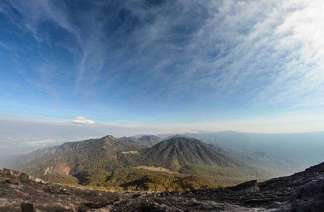 A view of the north slope (descending) of Mount Semeru in East Java.