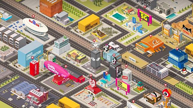 Learn about China's tech industry through this interactive world featuring some of its biggest names