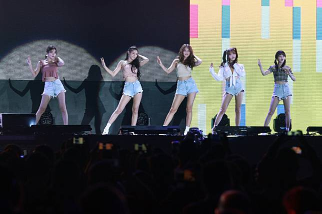 K-Pop girl group Ace of Angels (AOA) performs during the closing ceremony of the 2018 Asian Para Games in Jakarta on October 13, 2018.