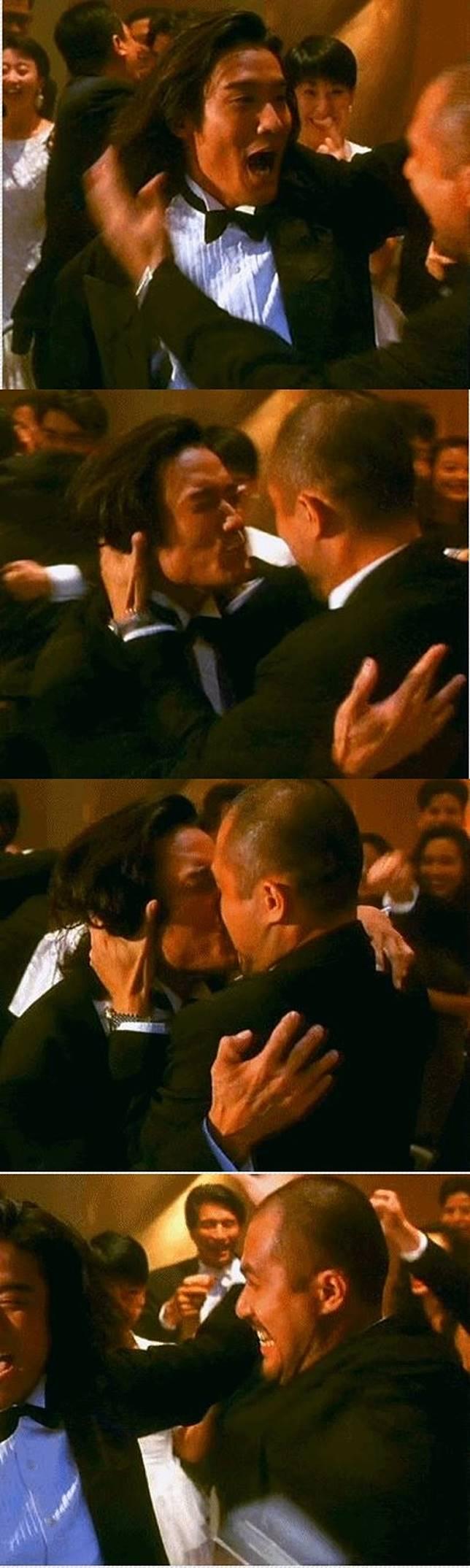 梁家輝與徐錦江在電影《賭神2》中的激吻戲令觀眾留下深刻印象。