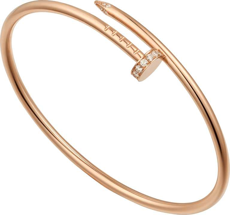 Cartier「Juste un Clou系列」玫瑰金鑲鑽手環╱132,000元。(圖╱Cartier提供)