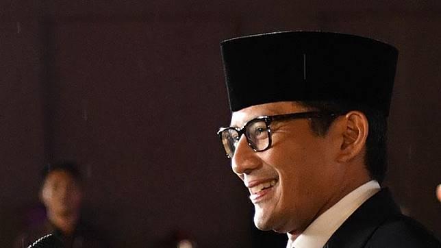 Cawapres nomor urut 02, Sandiaga Uno dalam Debat Capres Putaran Ketiga di Hotel Sultan, Jakarta, Ahad, 17 Maret 2019. ANTARA/Wahyu Putro A