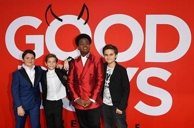 In this file photo taken on August 14, 2019 (L-R) actors Brady Noon, Jacob Tremblay, Keith L. Williams and Chance Hurstfield arrive for the premiere of 'Good Boys', at the Regency Village Theatre in Westwood, California.