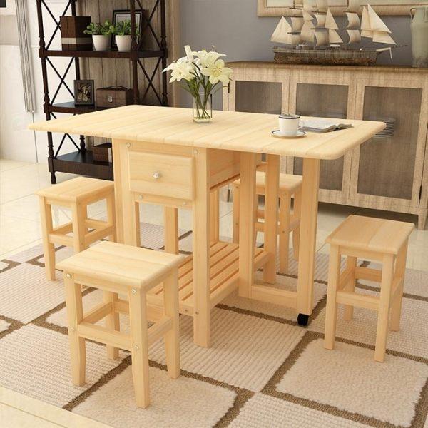 折疊桌 鬆木折疊餐桌家用小戶型吃飯桌多功能經濟伸縮桌長方形簡易小餐桌