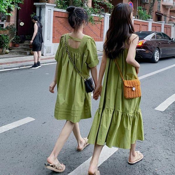 吊帶裙2019夏季新款法式桔梗復古連身裙牛油果綠色吊帶裙子仙女超仙森系 伊羅鞋包